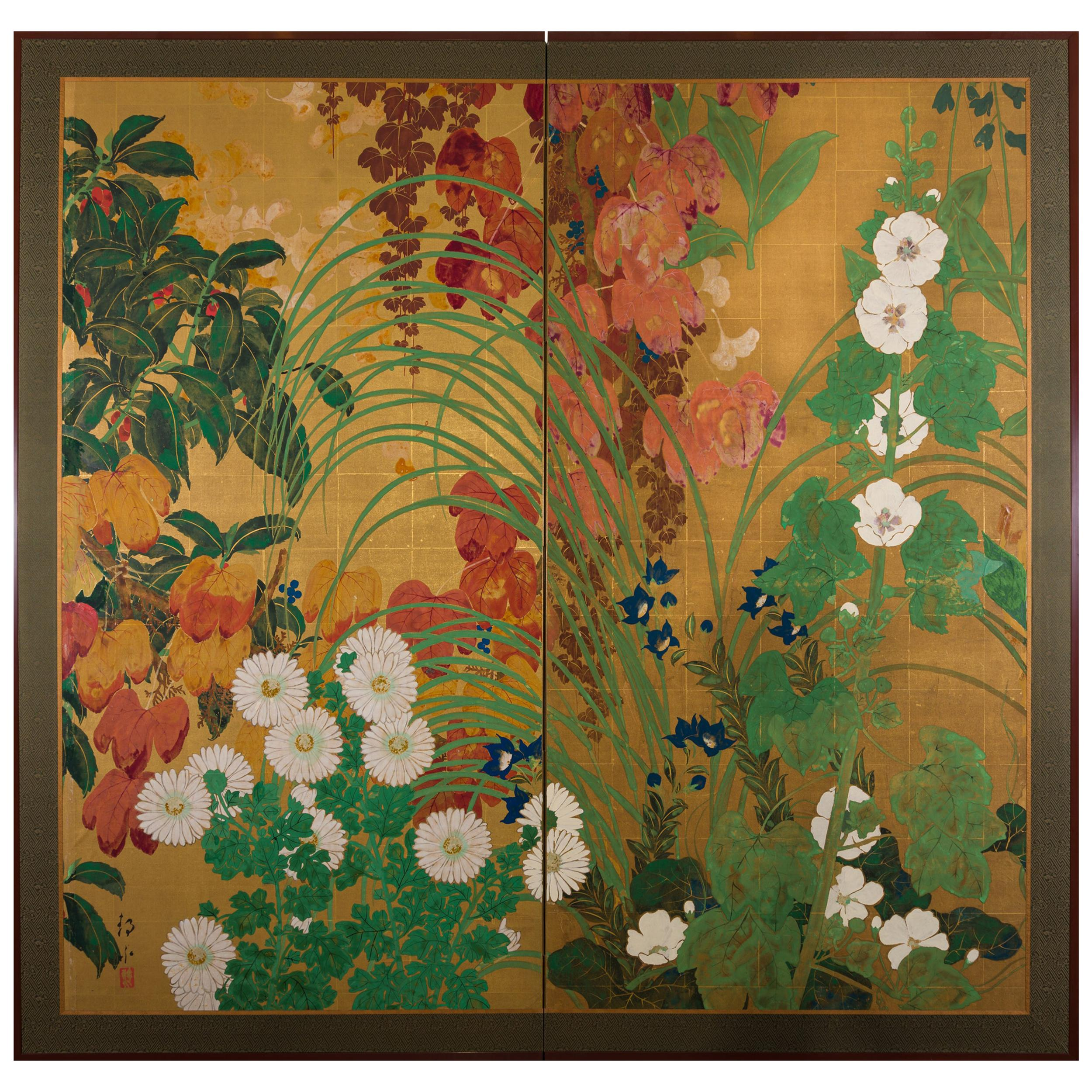 Japanese Two Panel Screen Late Summer Into Fall