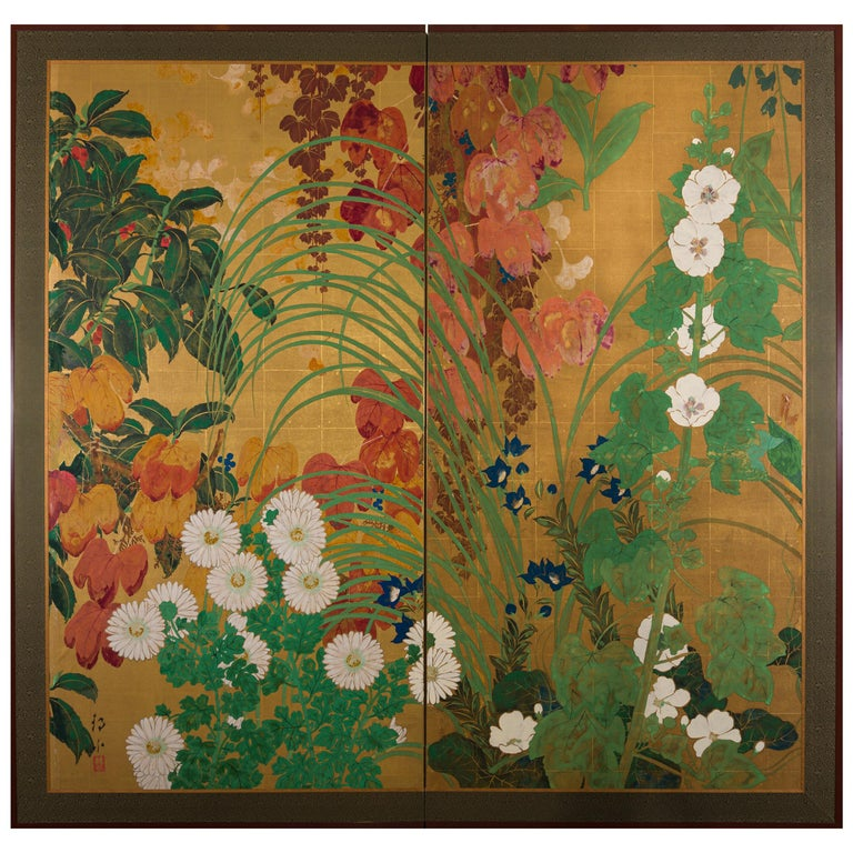 Japanese Two Panel Screen Late Summer Into Fall For Sale