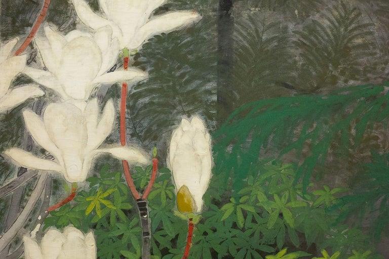 Meiji Japanese Two-Panel Screen, Magnolia Tree in Bloom For Sale