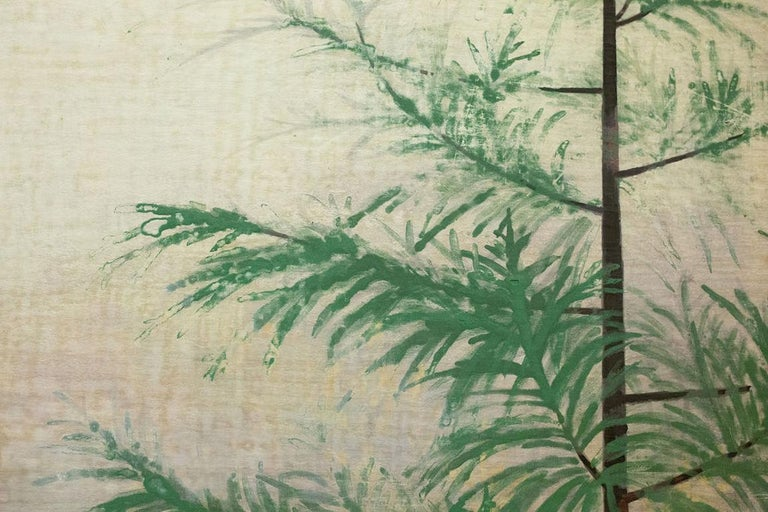Japanese Two-Panel Screen, Magnolia Tree in Bloom In Good Condition For Sale In Hudson, NY