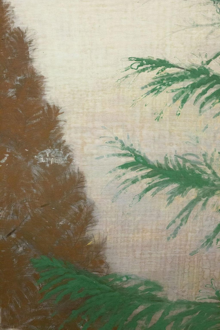 Early 20th Century Japanese Two-Panel Screen, Magnolia Tree in Bloom For Sale