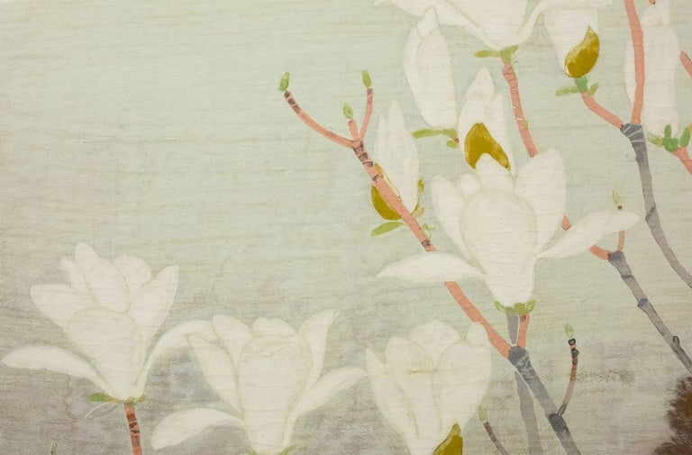 Wood Japanese Two-Panel Screen, Magnolia Tree in Bloom For Sale