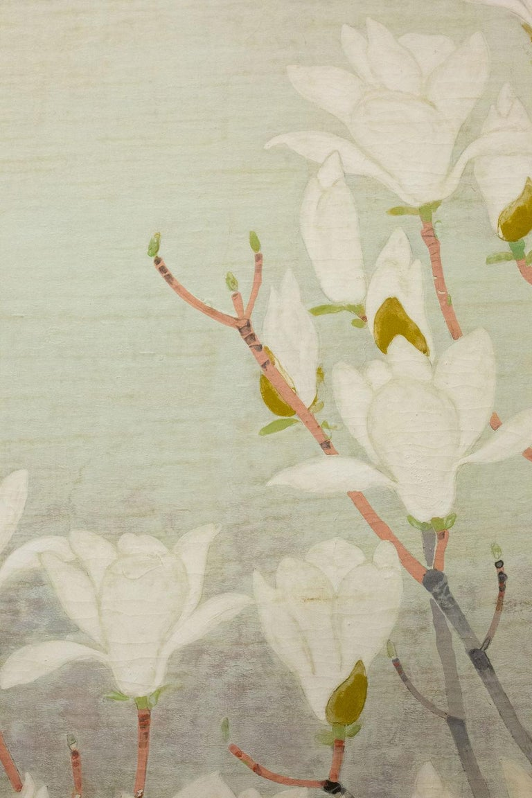 Japanese Two-Panel Screen, Magnolia Tree in Bloom For Sale 1