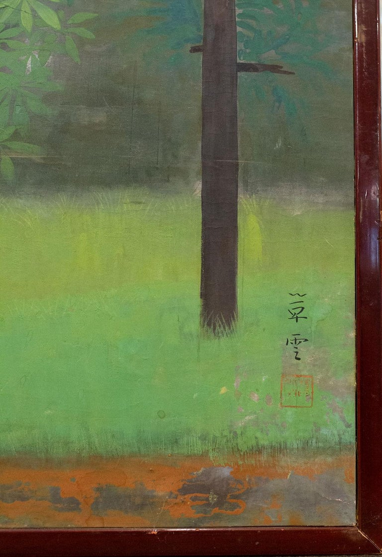 Japanese Two-Panel Screen, Magnolia Tree in Bloom For Sale 3
