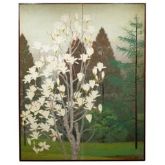 Japanese Two-Panel Screen, Magnolia Tree in Bloom