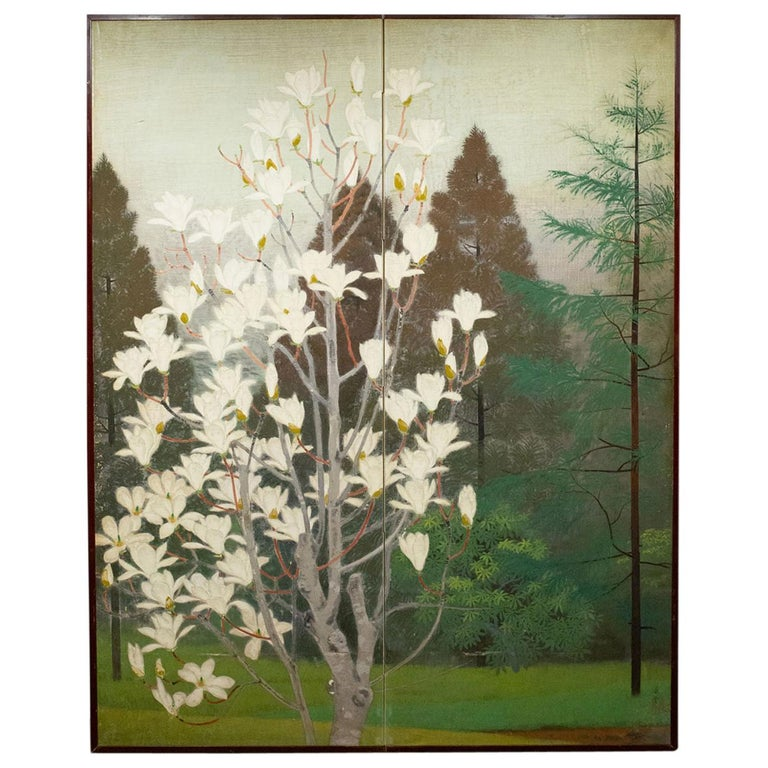 Japanese Two-Panel Screen, Magnolia Tree in Bloom For Sale