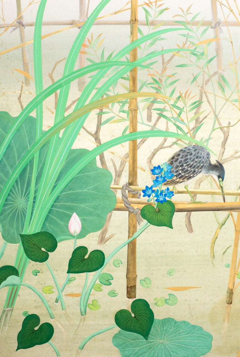 Showa Japanese Two-Panel Screen Marsh Flowers For Sale
