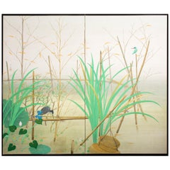 Japanese Two-Panel Screen Marsh Flowers