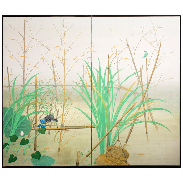 Japanese Two-Panel Screen Marsh Flowers For Sale