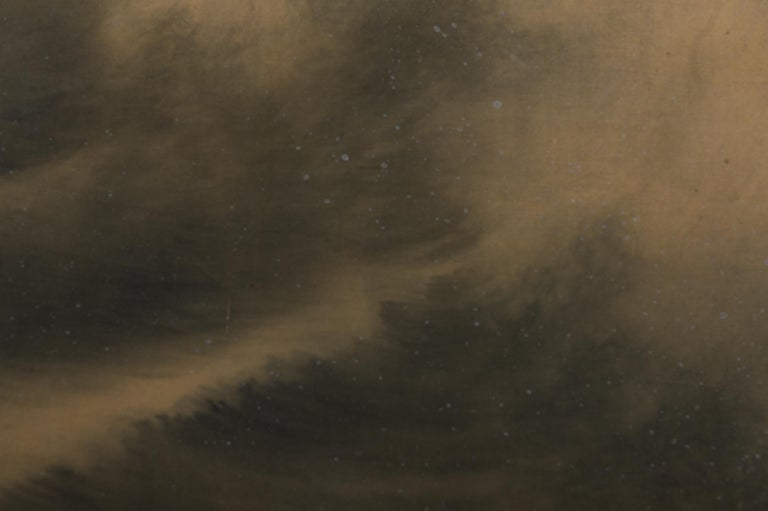 Early 20th Century Japanese Two Panel Screen Moon Over Stormy Seas For Sale
