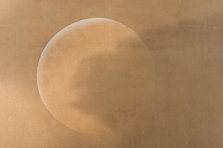 Japanese Two Panel Screen Moon Over Stormy Seas For Sale 1