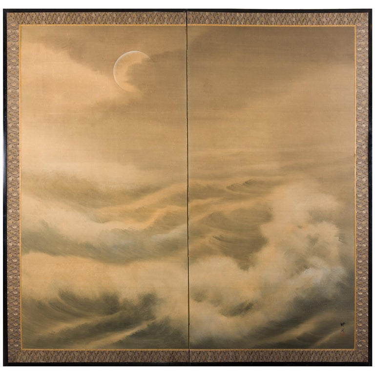 Japanese Two Panel Screen Moon Over Stormy Seas For Sale