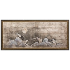 Japanese Two Panel Screen Moon Over Waves