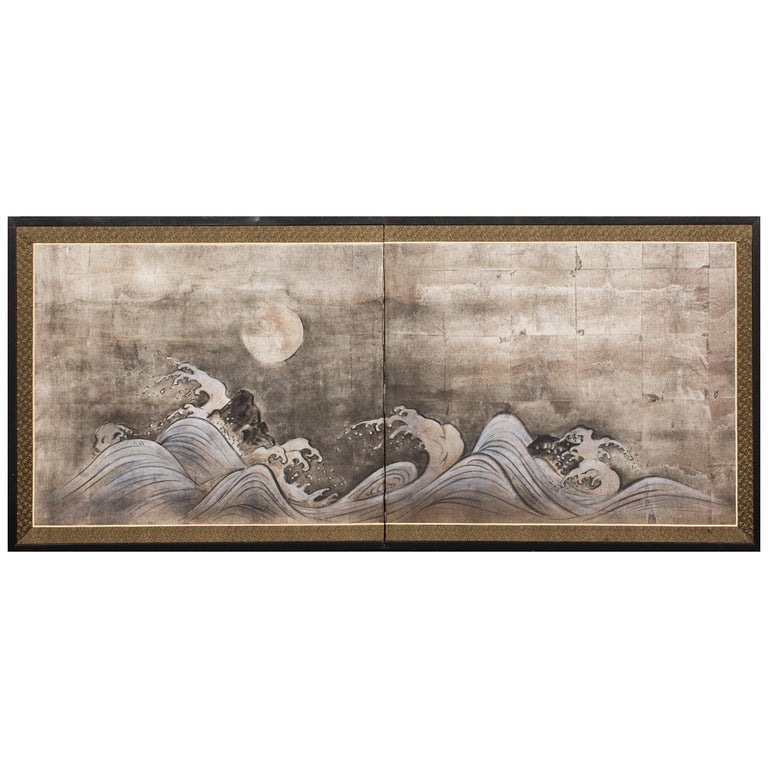 Japanese Two Panel Screen Moon Over Waves For Sale