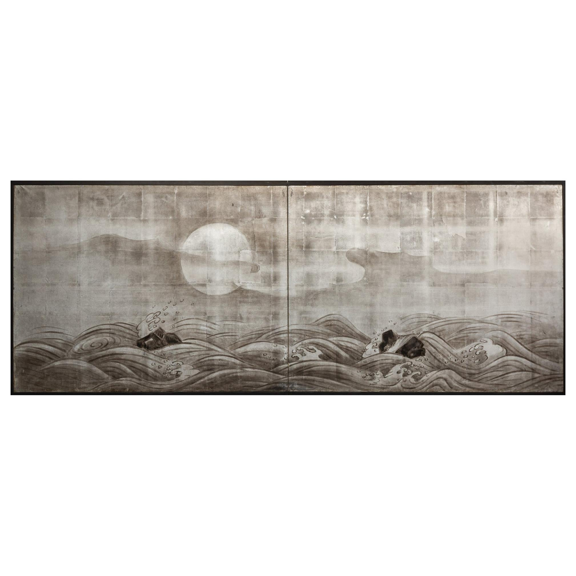 Japanese Two Panel Screen Moon Rising Over Turbulent Ocean Landscape