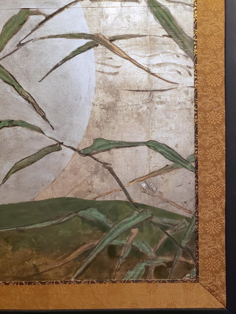 Japanese Two Panel Screen: Moon Rising Through Bamboo On Silver Leaf In Good Condition In Hudson, NY