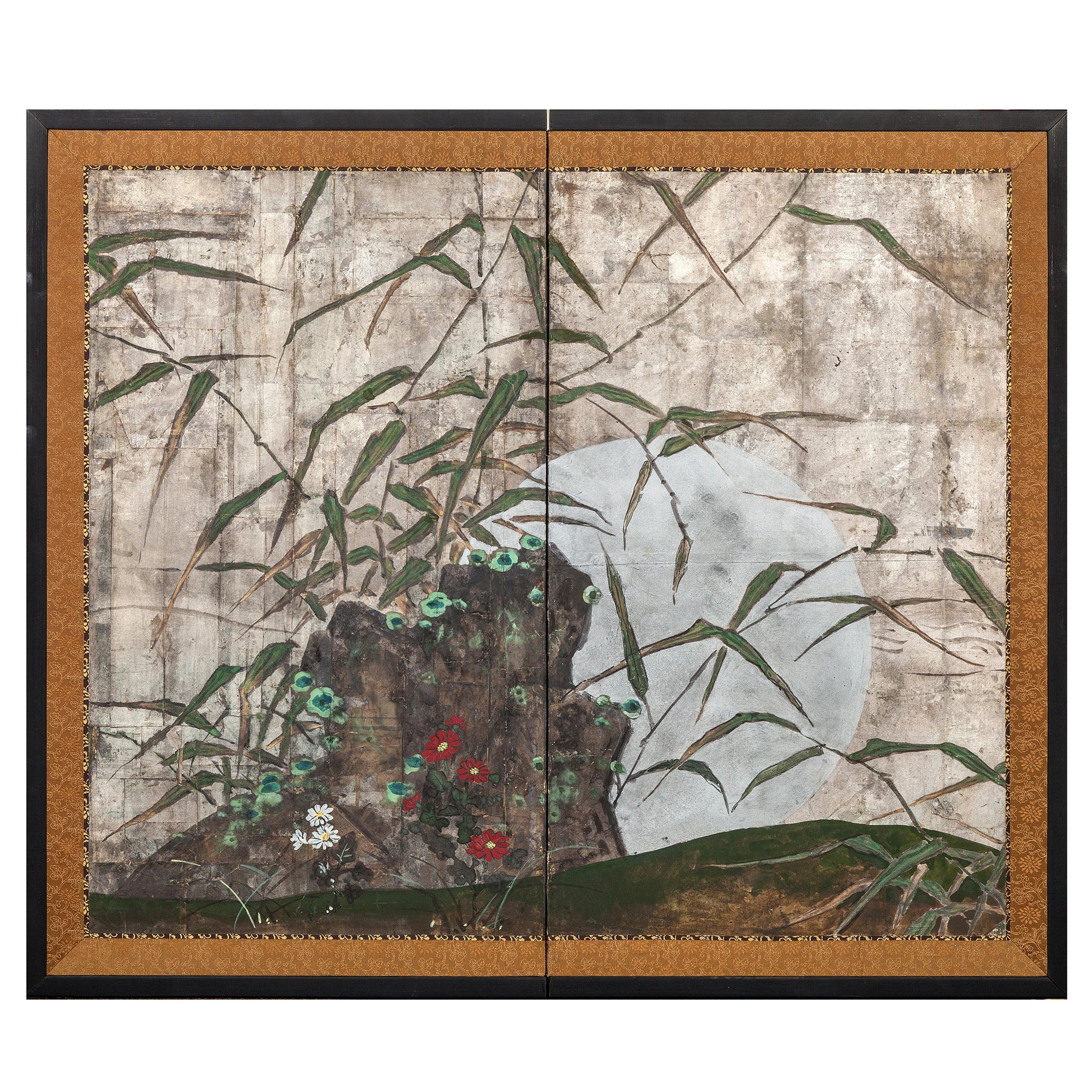 Japanese Two Panel Screen Moon Rising Through Bamboo on Silver Leaf