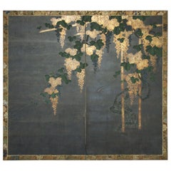 Japanese Two Panel Screen, Moonlit Grape Vine and Arbor