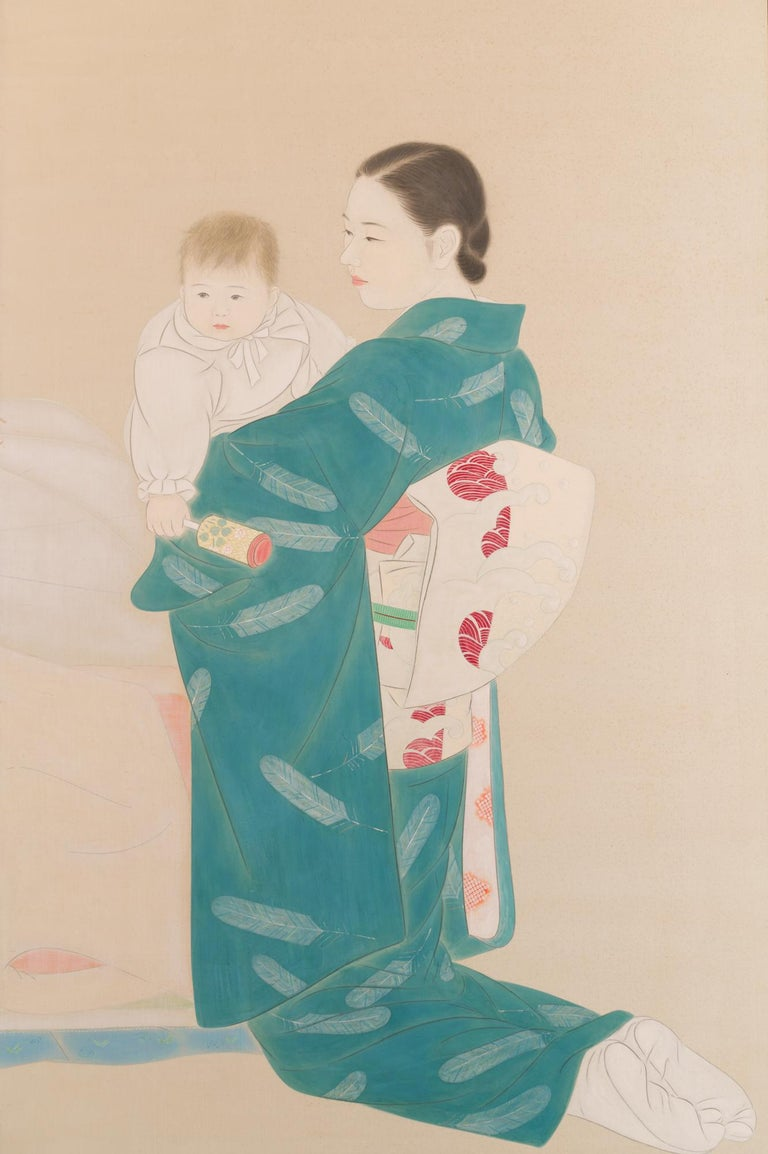Showa Japanese Two Panel Screen Mother and Child at Bedtime For Sale