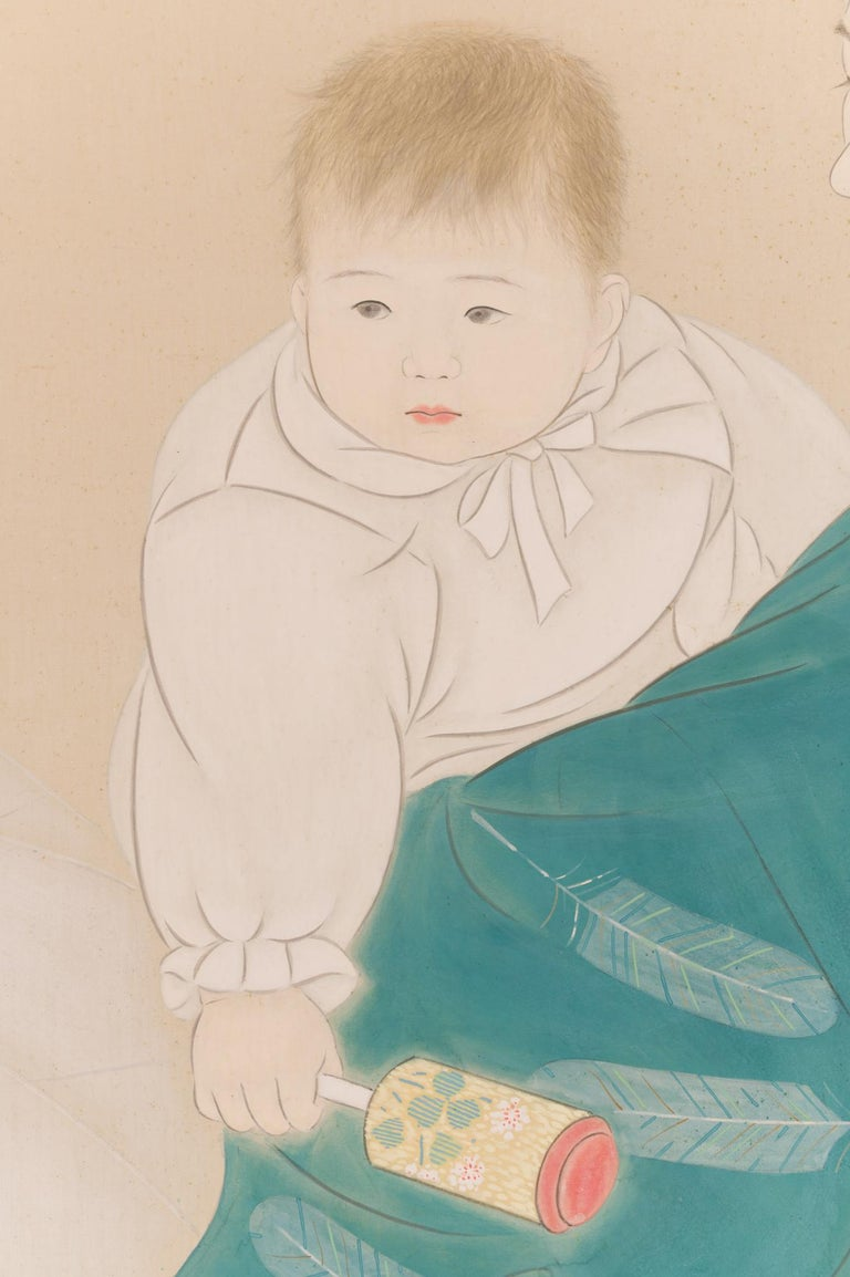 Japanese Two Panel Screen Mother and Child at Bedtime In Good Condition For Sale In Hudson, NY