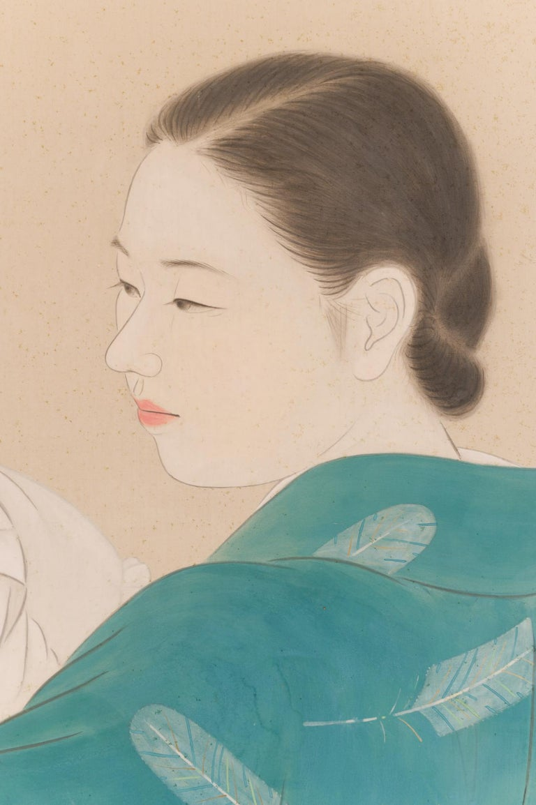 20th Century Japanese Two Panel Screen Mother and Child at Bedtime For Sale