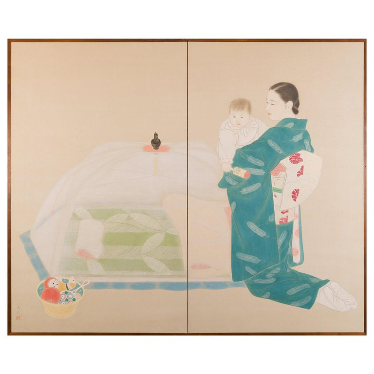Japanese Two Panel Screen Mother and Child at Bedtime For Sale