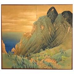 Japanese Two-Panel Screen, Mountain Seaside Village