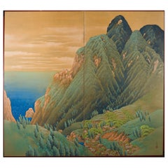 Japanese Two-Panel Screen, Mountain Seaside Village