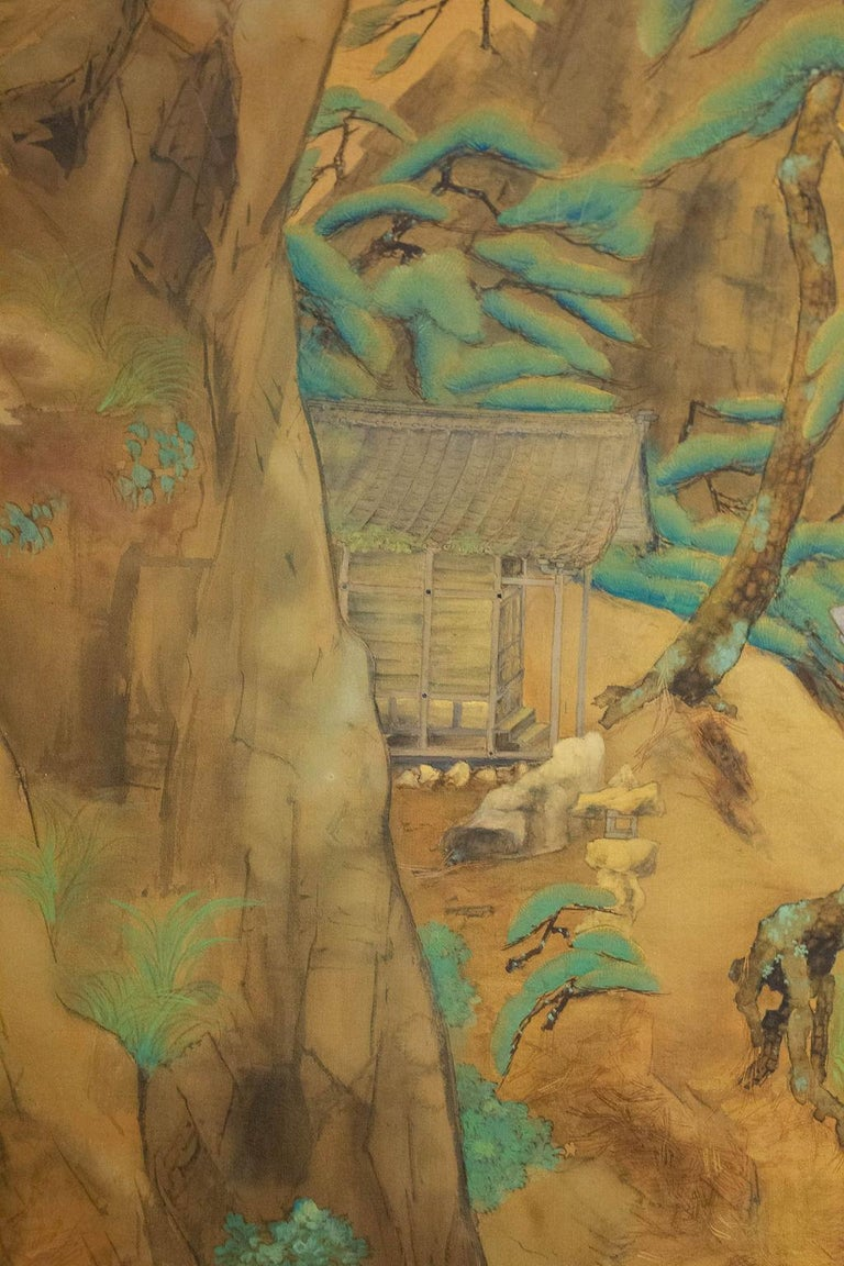 Taisho Japanese Two-Panel Screen Mountain Shrine on Craggy Ledge For Sale