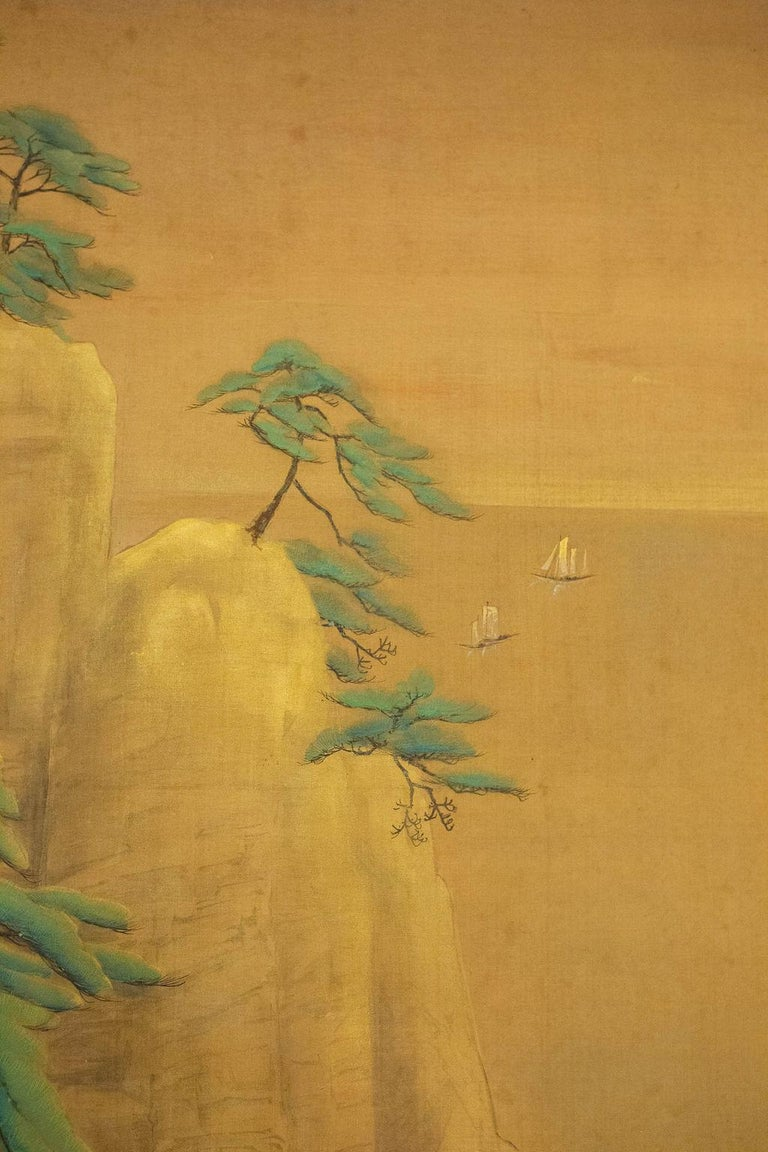 20th Century Japanese Two-Panel Screen Mountain Shrine on Craggy Ledge For Sale