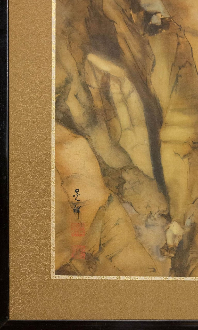 Japanese Two-Panel Screen Mountain Shrine on Craggy Ledge For Sale 2