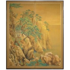 Japanese Two-Panel Screen Mountain Shrine on Craggy Ledge