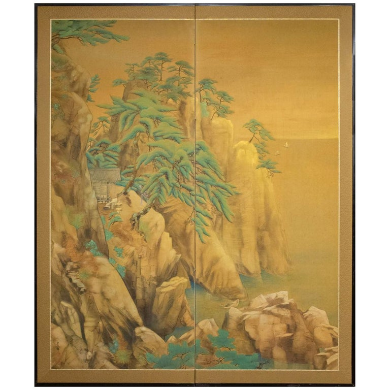 Japanese Two-Panel Screen Mountain Shrine on Craggy Ledge For Sale