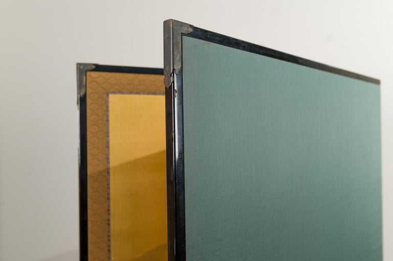 Japanese Two Panel Screen: Mountains in the Mist For Sale 7