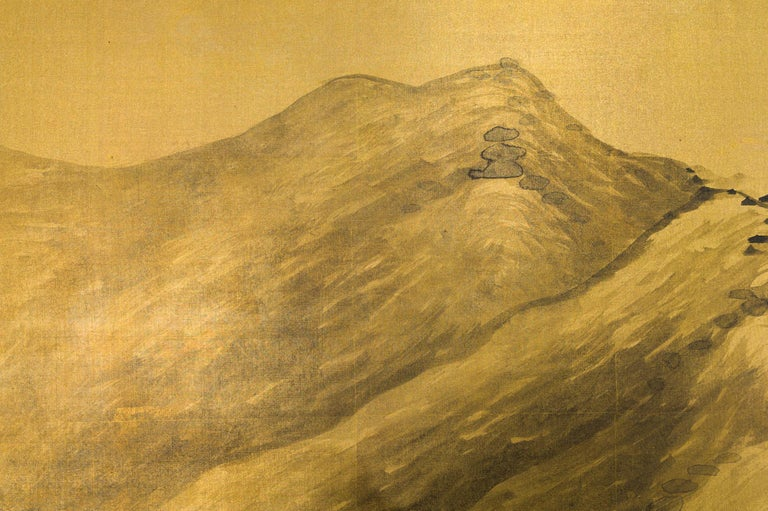 Chinese School landscape ink painting on gilded silk by Yukimatsu Shunpo, signed and dated 1924. Yukimatsu Shunpo was born in Oita in 1897 and studied under Himejima Chikugai in Osaka. He exhibited with the Teiten (future Nitten) many times and