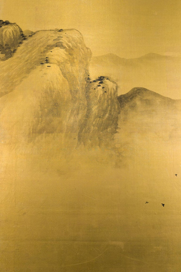 Taisho Japanese Two Panel Screen: Mountains in the Mist For Sale
