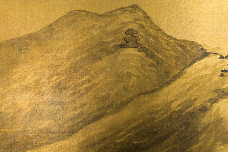 Gilt Japanese Two Panel Screen: Mountains in the Mist For Sale