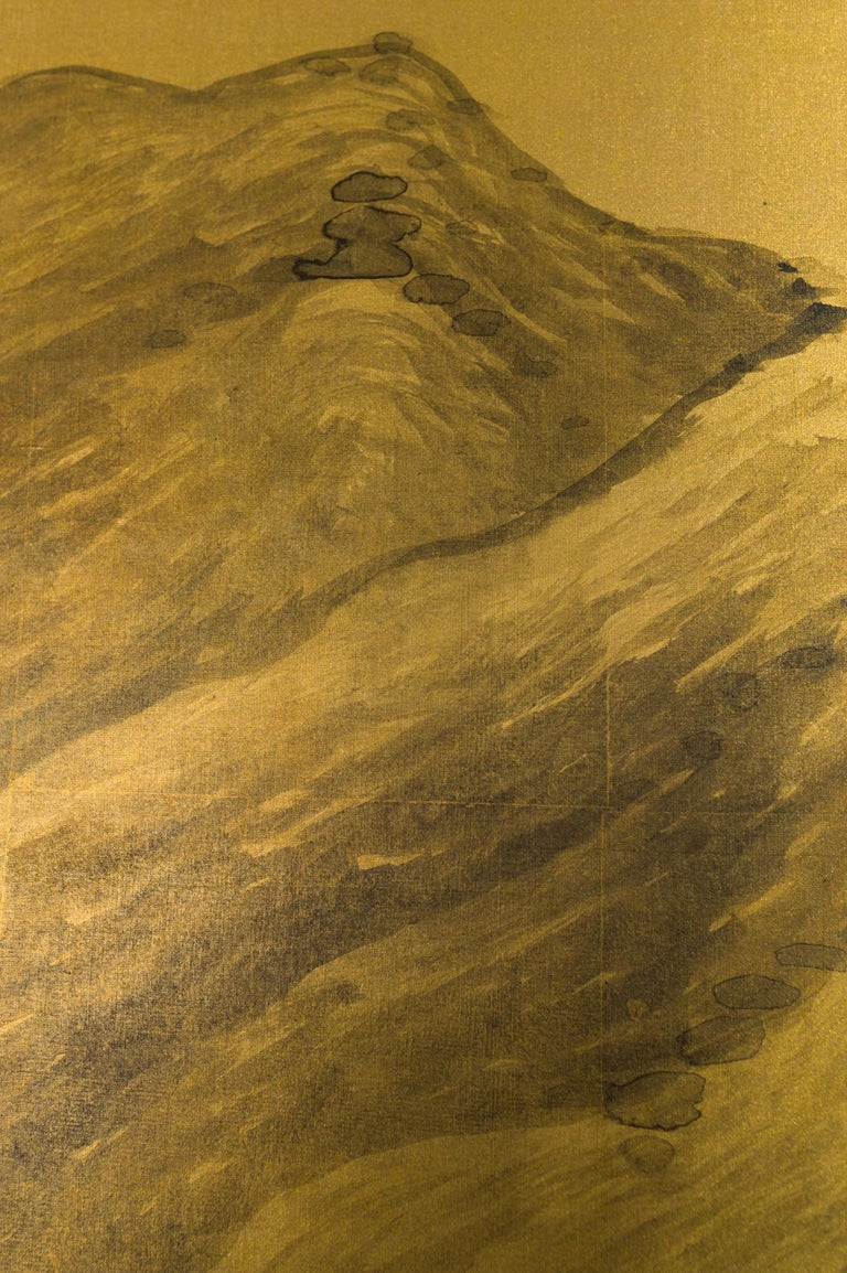 Japanese Two Panel Screen: Mountains in the Mist In Good Condition For Sale In Hudson, NY