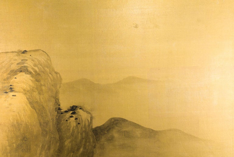 20th Century Japanese Two Panel Screen: Mountains in the Mist For Sale