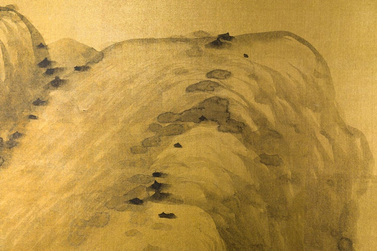 Silk Japanese Two Panel Screen: Mountains in the Mist For Sale