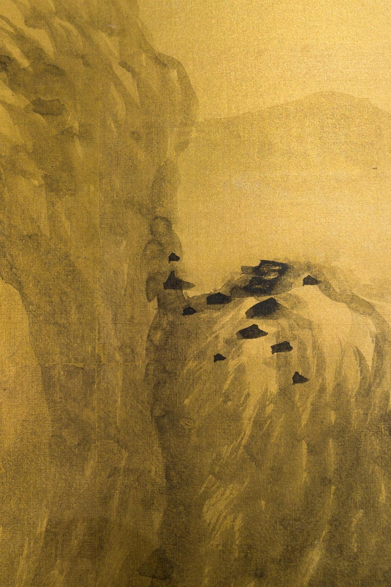 Japanese Two Panel Screen: Mountains in the Mist For Sale 1
