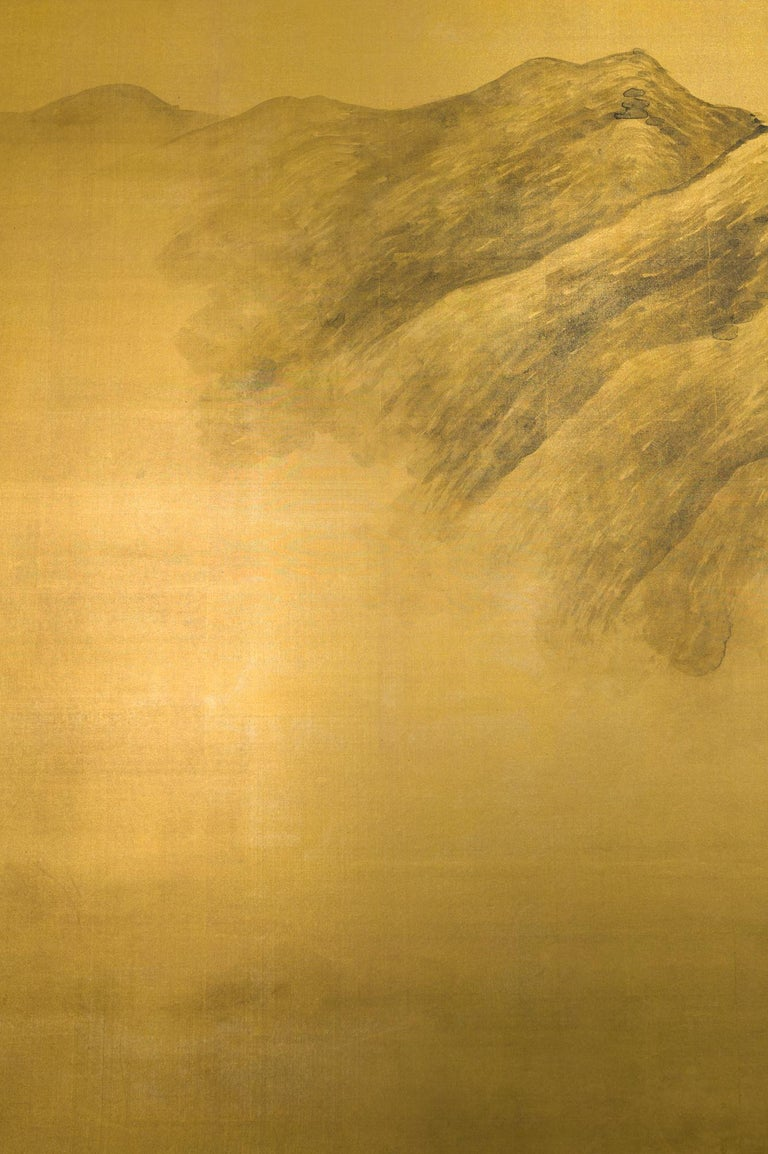 Japanese Two Panel Screen: Mountains in the Mist For Sale 2