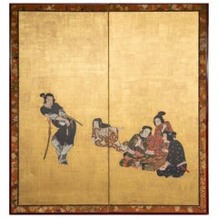 Japanese Two Panel Screen: Dancing Zodiac Animals at New Years