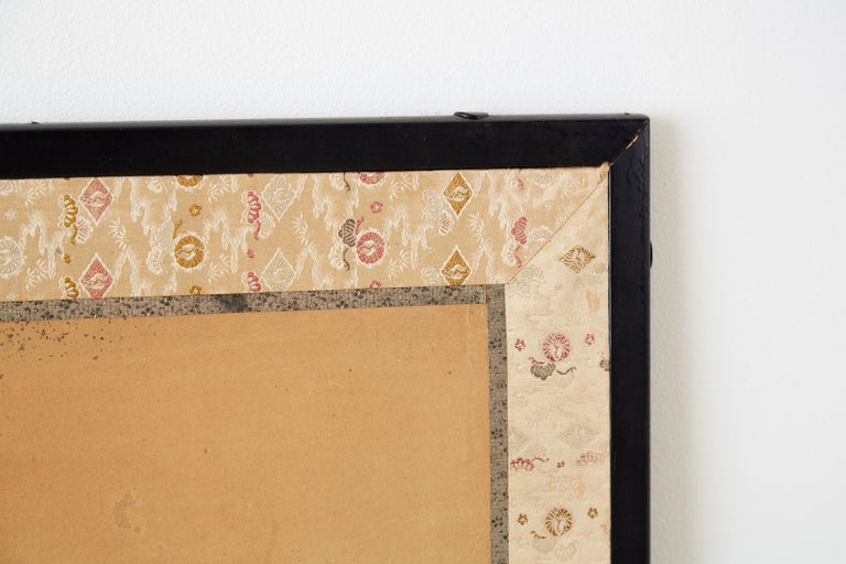 Japanese Two Panel Screen of Child with Geese For Sale 4