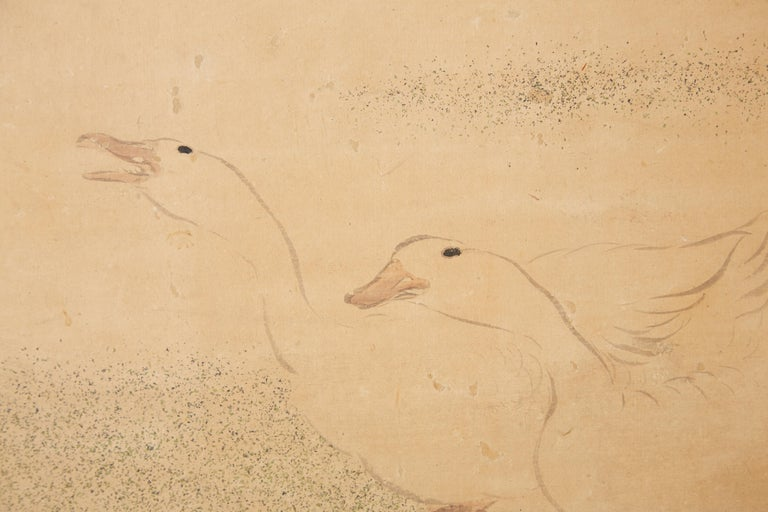 Japanese Two Panel Screen of Child with Geese For Sale 6