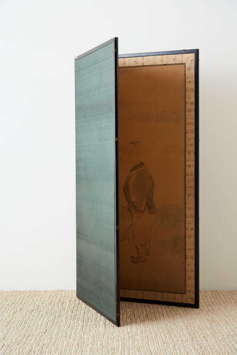 Japanese Two Panel Screen of Child with Geese For Sale 8