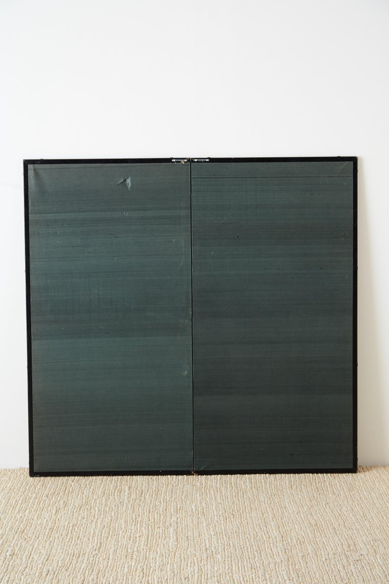 Japanese Two Panel Screen of Child with Geese For Sale 9