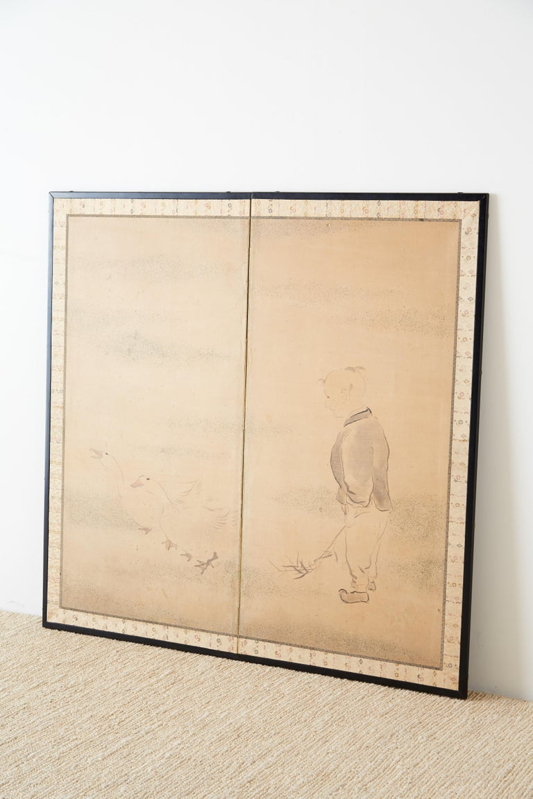 Meiji Japanese Two Panel Screen of Child with Geese For Sale