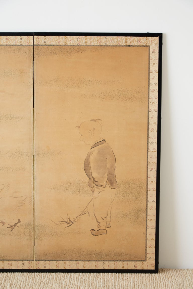 Japanese Two Panel Screen of Child with Geese In Good Condition For Sale In Rio Vista, CA