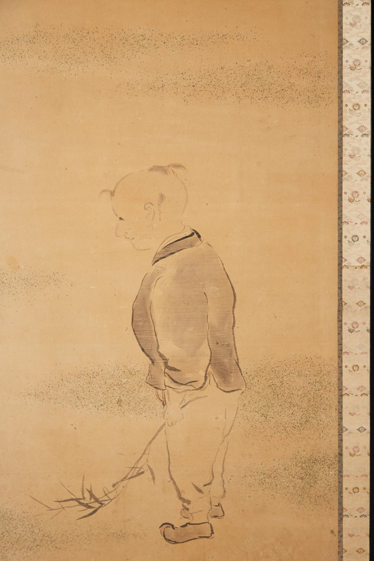 19th Century Japanese Two Panel Screen of Child with Geese For Sale
